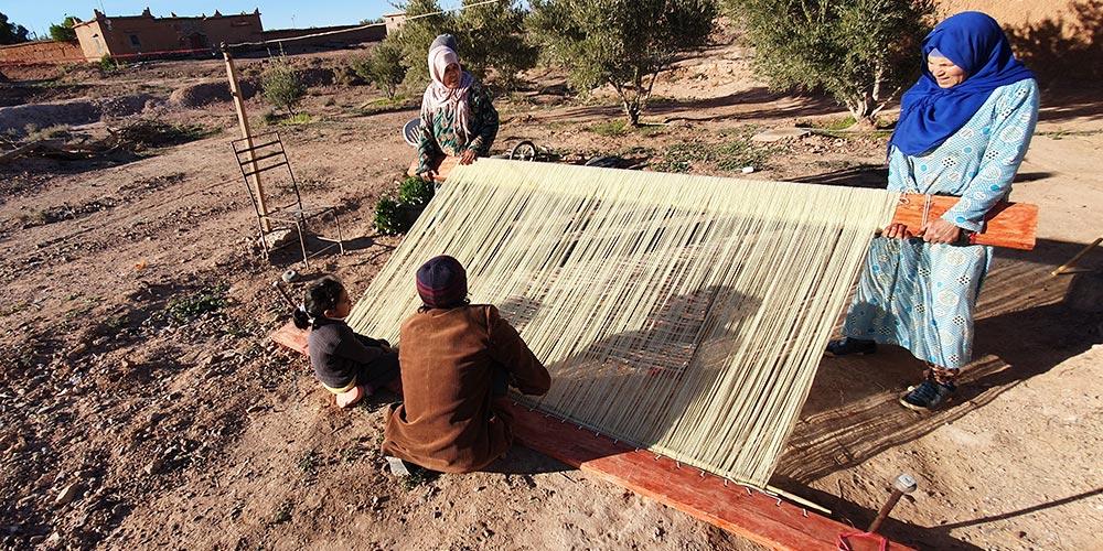 Montage de la trame du tapis